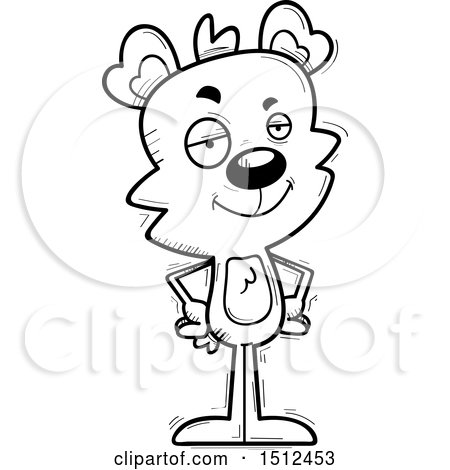 Clipart of a Black and White Confident Male Bear - Royalty Free Vector Illustration by Cory Thoman