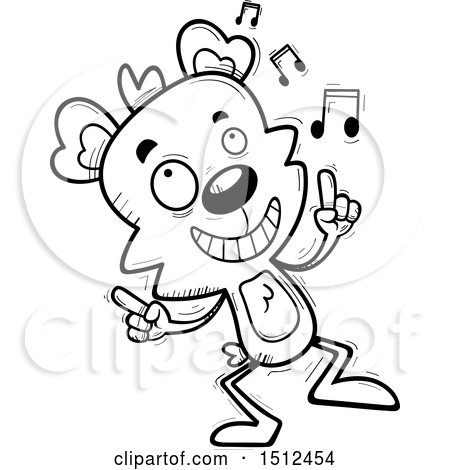 Clipart of a Black and White Happy Dancing Male Bear - Royalty Free Vector Illustration by Cory Thoman