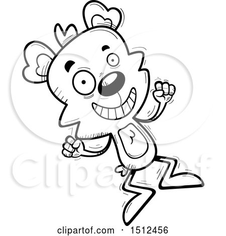 Clipart of a Black and White Jumping Male Bear - Royalty Free Vector Illustration by Cory Thoman