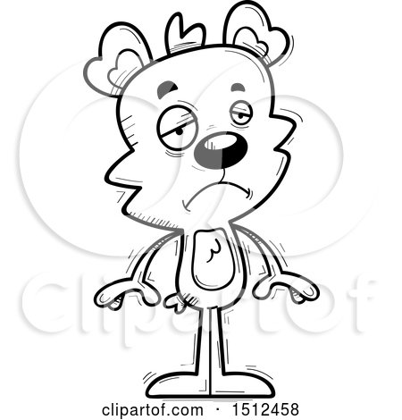 Clipart of a Black and White Sad Male Bear - Royalty Free Vector Illustration by Cory Thoman
