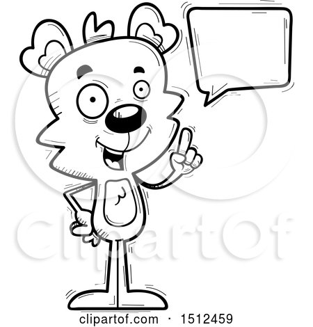 Clipart of a Black and White Happy Talking Male Bear - Royalty Free Vector Illustration by Cory Thoman