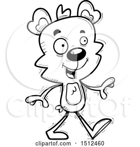 Clipart of a Black and White Happy Walking Male Bear - Royalty Free Vector Illustration by Cory Thoman