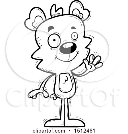 Clipart of a Black and White Friendly Waving Male Bear - Royalty Free Vector Illustration by Cory Thoman