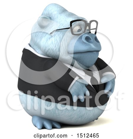 3d White Business Monkey Yeti, on a White Background Posters, Art Prints
