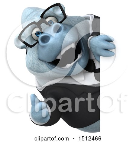 3d White Business Monkey Yeti Holding a Thumb Up, on a White Background Posters, Art Prints