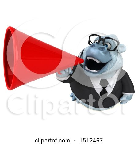 3d White Business Monkey Yeti Holding a Megaphone, on a White Background Posters, Art Prints