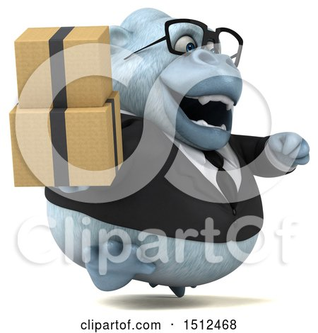 3d White Business Monkey Yeti Holding Boxes, on a White Background Posters, Art Prints