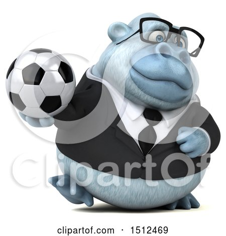 3d White Business Monkey Yeti Holding a Soccer Ball, on a White Background Posters, Art Prints