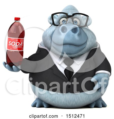 3d White Business Monkey Yeti Holding a Soda, on a White Background Posters, Art Prints