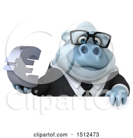 3d White Business Monkey Yeti Holding a Euro, on a White Background Posters, Art Prints