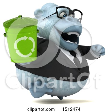 3d White Business Monkey Yeti Holding a Recycle Bin, on a White Background Posters, Art Prints
