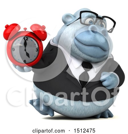 3d White Business Monkey Yeti Holding an Alarm Clock, on a White Background Posters, Art Prints