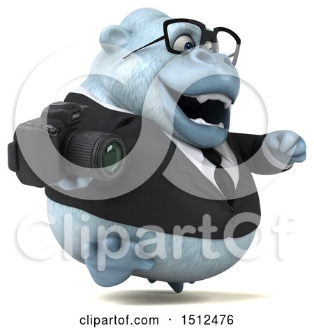 3d White Business Monkey Yeti Holding a Camera, on a White Background Posters, Art Prints