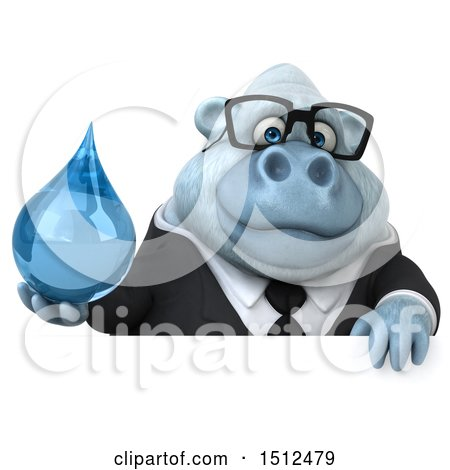 3d White Business Monkey Yeti Holding a Water Drop, on a White Background Posters, Art Prints