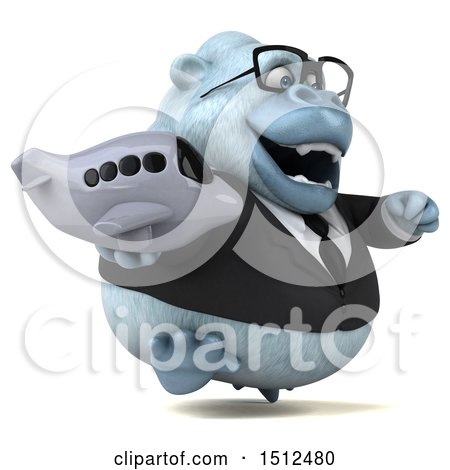 3d White Business Monkey Yeti Holding a Plane, on a White Background Posters, Art Prints
