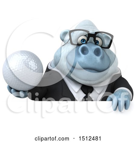 3d White Business Monkey Yeti Holding a Golf Ball, on a White Background Posters, Art Prints