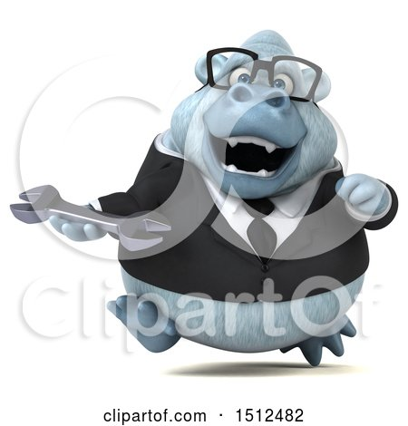 3d White Business Monkey Yeti Holding a Wrench, on a White Background Posters, Art Prints