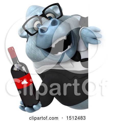 3d White Business Monkey Yeti Holding a Wine Bottle, on a White Background Posters, Art Prints