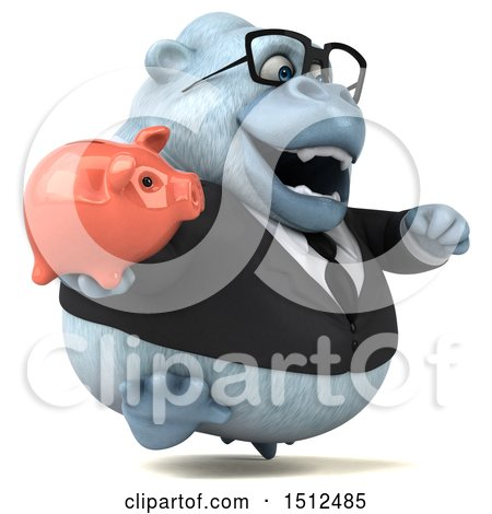 3d White Business Monkey Yeti Holding a Piggy Bank, on a White Background Posters, Art Prints