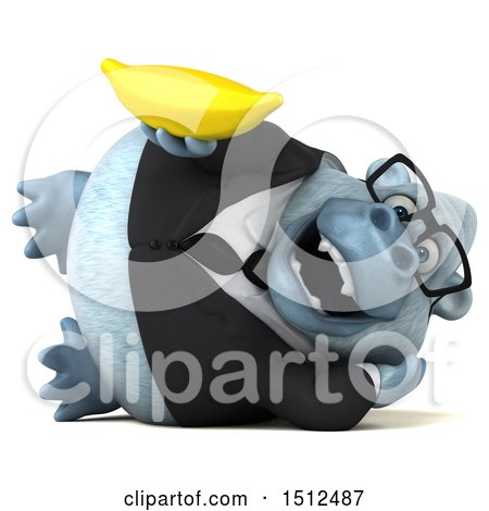 3d White Business Monkey Yeti Holding a Banana, on a White Background Posters, Art Prints