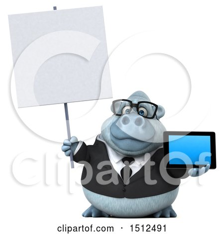 3d White Business Monkey Yeti Holding a Tablet, on a White Background Posters, Art Prints
