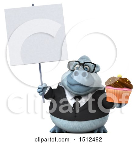 3d White Business Monkey Yeti Holding a Cupcake, on a White Background Posters, Art Prints
