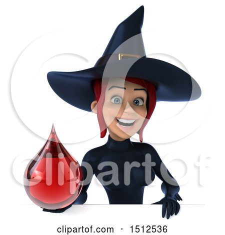 Clipart of a 3d Sexy Blue Witch Holding a Bood Drop, on a White Background - Royalty Free Illustration by Julos