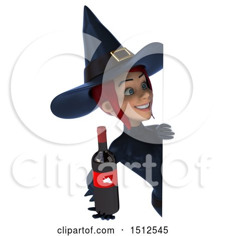Clipart of a 3d Sexy Blue Witch Holding a Wine Bottle, on a White Background - Royalty Free Illustration by Julos