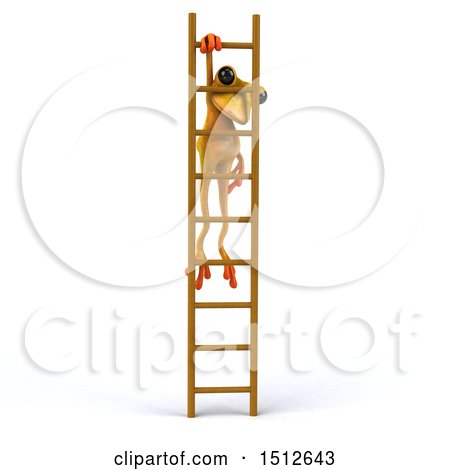 Clipart of a 3d Yellow Frog Hanging from a Ladder, on a White Background - Royalty Free Illustration by Julos