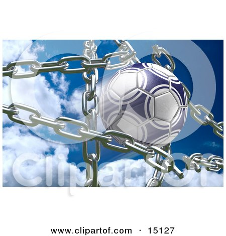 Blue And White Soccer Ball Breaking Through Metal Chains While Making A Goal, Symbolizing Breaking Free, Strength, Victory, And Success Posters, Art Prints