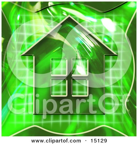 Green Home Icon Symbolizing Real Estate Or An Energy Efficient Home Posters, Art Prints