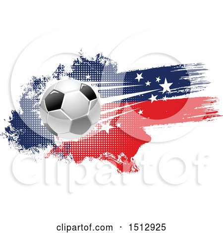 Clipart of a Soccer Ball and Grungy Flag Banner - Royalty Free Vector Illustration by Vector Tradition SM