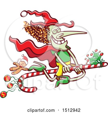 Clipart of a Christmas Witch Flying on a Candy Cane - Royalty Free Vector Illustration by Zooco