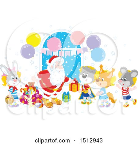 Clipart of a Group of Animal Children Visiting Santa and Receiving Christmas Gifts - Royalty Free Vector Illustration by Alex Bannykh