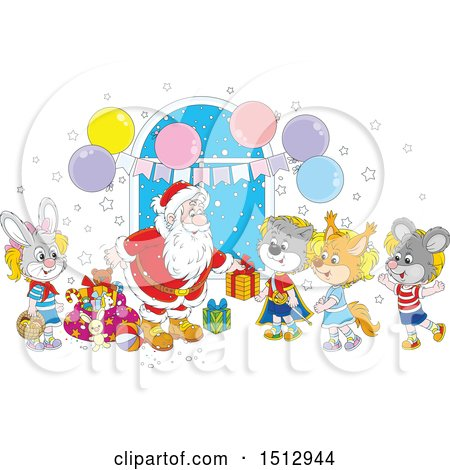 Clipart of a Cartoon Group of Animal Children Visiting Santa Claus and Receiving Christmas Gifts - Royalty Free Vector Illustration by Alex Bannykh