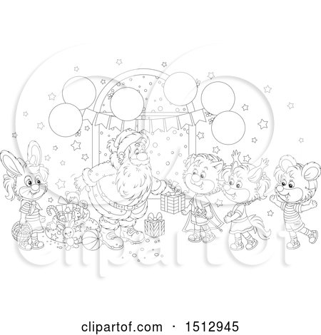 Clipart of a Black and White Group of Animals Visiting Santa and Receiving Christmas Presents - Royalty Free Vector Illustration by Alex Bannykh