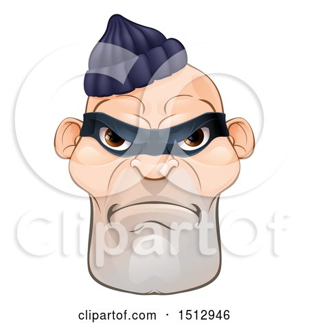 Clipart of a Tough and Angry White Male Robber Face - Royalty Free Vector Illustration by AtStockIllustration