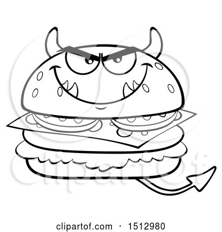Clipart of a Black and White Devil Cheeseburger Mascot - Royalty Free Vector Illustration by Hit Toon