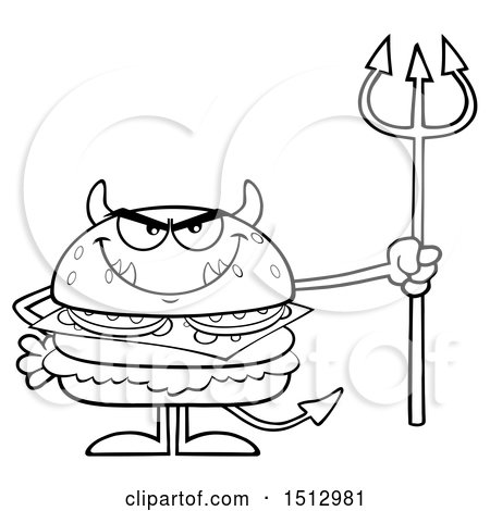 Clipart of a Black and White Devil Cheeseburger Mascot Holding a Trident - Royalty Free Vector Illustration by Hit Toon