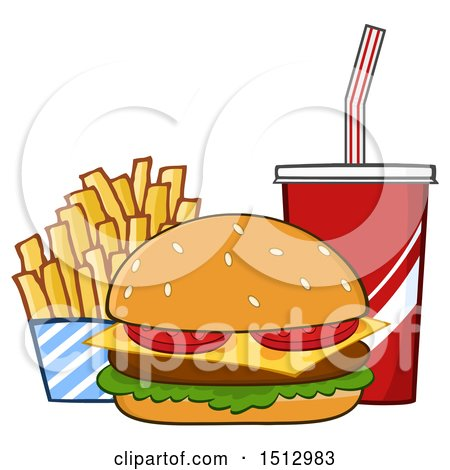 Clipart of a Cheeseburger, French Fries and Fountain Soda Fast Food Meal - Royalty Free Vector Illustration by Hit Toon