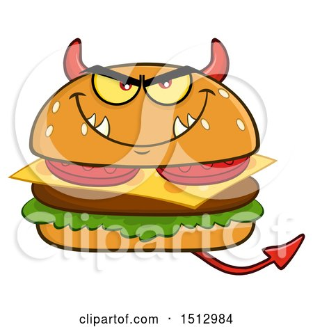 Clipart of a Devil Cheeseburger Mascot - Royalty Free Vector Illustration by Hit Toon