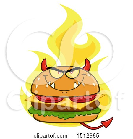 Clipart of a Flaming Devil Cheeseburger Mascot - Royalty Free Vector Illustration by Hit Toon