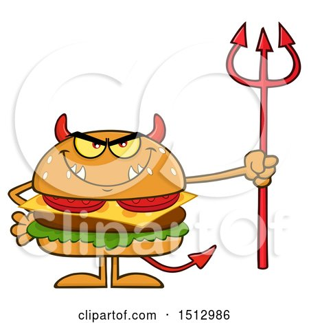 Clipart of a Devil Cheeseburger Mascot Holding a Trident - Royalty Free Vector Illustration by Hit Toon
