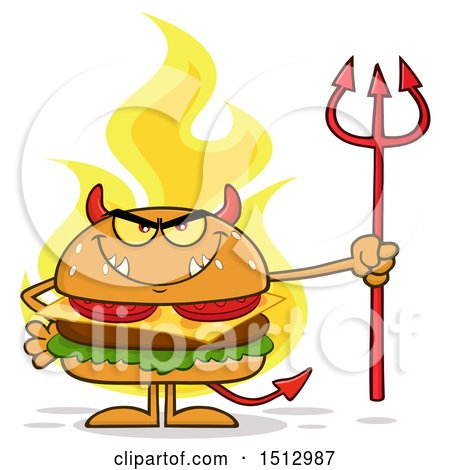 Clipart of a Flaming Devil Cheeseburger Mascot Holding a Trident - Royalty Free Vector Illustration by Hit Toon