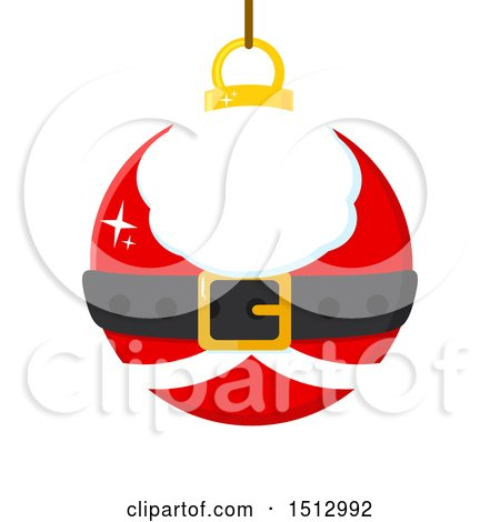 Clipart of a Santa Suit Christmas Bauble Ornament - Royalty Free Vector Illustration by Hit Toon