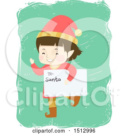 Clipart of a Christmas Elf Boy Running with a Letter to Santa - Royalty Free Vector Illustration by BNP Design Studio