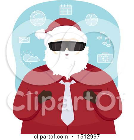 Clipart of a Christmas Santa Claus Wearing Virtual Reality Glasses - Royalty Free Vector Illustration by BNP Design Studio