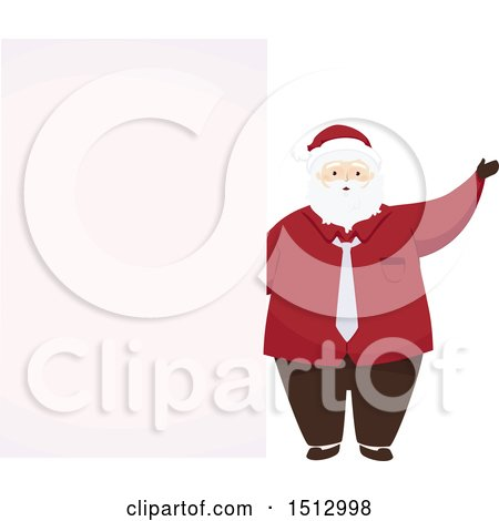 Clipart of a Christmas Santa Claus by a Blank Sign - Royalty Free Vector Illustration by BNP Design Studio