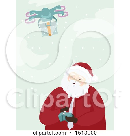Clipart of a Christmas Santa Claus Operating a Drone to Send a Present - Royalty Free Vector Illustration by BNP Design Studio