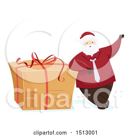 Clipart of a Christmas Santa Claus Leaning on a Giant Gift in a Cardboard Box - Royalty Free Vector Illustration by BNP Design Studio
